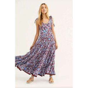 New Free People Kika's Printed Midi Dress  WINE